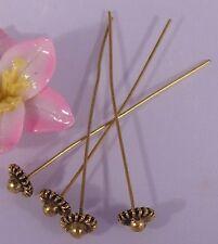 ♥ Kopfstifte Zier Nietstifte Blume antik vergoldet golden 53mm 4Stk ♥ Z031