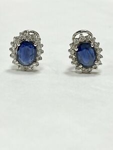 3.32 ctw Oval Blue Sapphire & Diamonds Halo Cocktail Earrings 14k White Gold