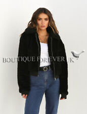 UK Womens Teddy Bear Short Coat Ladies Faux Fur Borg Zip Bomber Jacket Size 6-18