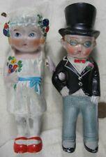 Vintage 1920's 6� Bisque Porcelain Cute Bride & Groom Dolls Germany or Japan