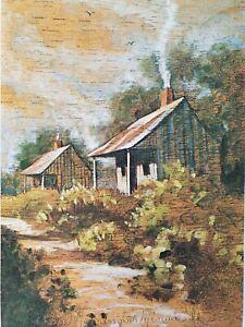 CHESTEE HARRINGTON MINVIELLE Lithograph Handsigniert CABIN Landhaus Hütte NEU