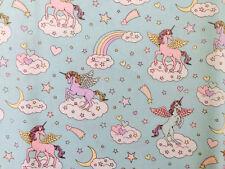 Cute Unicorn Print Japanese Fabric Light Blue - 110cm x 50cm