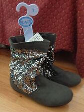 Children's Place Girl Grey Sparkle Fashion Boots Size 3 Youth Silver Pageant Nj