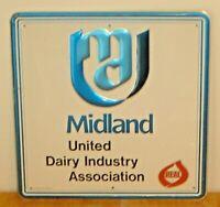 "Vintage Midland United Dairy Industry Association Embossed Metal Sign ""Stout"" B"