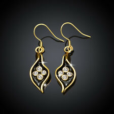 Classic 18K Yellow Gold Filled Clear Crystal Black Oil Drip Leaf Dangly Earrings