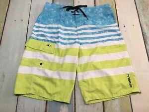 "ONEILL Stripe BOARDSHORTS Men's Size 30"" Waist Swim Trunks SUPER CLEAN"