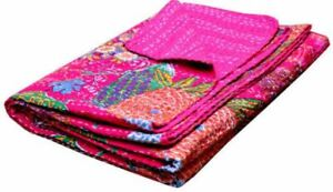 Indian Fruit Print Single Kantha Handmade Quilt Cotton Bed Cover Throw