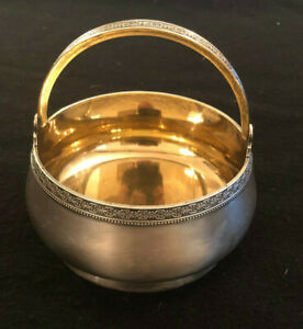 Antique Russian 875 Silver Yellow Gold Guilted Sugar Bowl