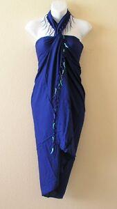 Clearance Blue Cruise Beaded SwimSuit Beachwear Coverup Wrap Sarong Pareo Dress