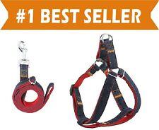 Dog Leash Harness Adjustable & Durable Leash Set & Heavy Duty Denim Dog Leash