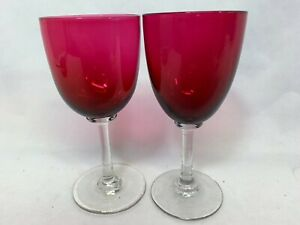 Pair Of Antique Victorian Edwardian Cranberry Red Glass Drinking Wine Glasses