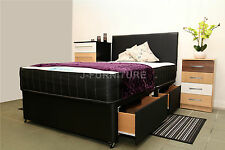 5ft King Size Memory Touch Divan Bed With 4 Drawers and Faux Leather Headboard