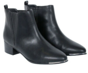 DECJUBA Women's Mid Heel Black Boot Size 37/Size 6.5 /Silver Trim Detail