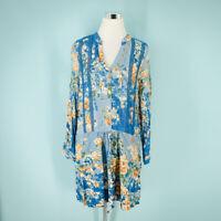 Anthropologie Tiny Size Medium M Dress Gaia Blue Floral Long Sleeve Shirtdress
