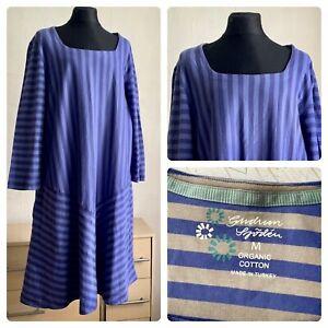 GUDRUN SJODEN dress size M 3/4 sleeve  coton color blue