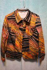 ⚜Woman's Printed Zip down jacket by Erin London size M~Tan/brown/orange