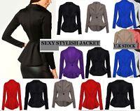 New Women's Ladies Crop Frill Shift Slim Fit Peplum Blazer Jacket Coat Size*ScbJ