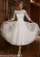 New 3/4 Sleeve White Ivory Tea Length Bridal Gown wedding dress Size 6-18