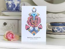 Anchor and Rose tattoo alternative handmade wedding invitations