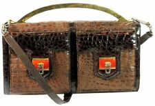Bolso en piel de cocodrilo / Crocodile leather handbag. Años 70 VINTAGE ANCIENT