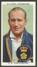 PLAYER'S 1938 CRICKETERS  T.S. Worthington No 32 of 50 CRICKET CIGARETTE CARDS