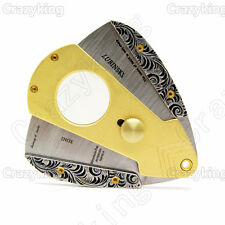 Antique Gold Bronze Carving Inox Sharp Cigar Cutter With Case Cohiba