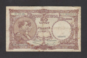 20 FRANCS VG BANKNOTE FROM BELGIUM 1948 PICK-116