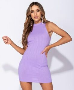High Neck Rib Sleeveless Bodycon Mini Dress