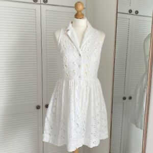 Topshop Crochet Dress Size 10 White Mini Sleeveless Shirt Dress Eyelet Pinup