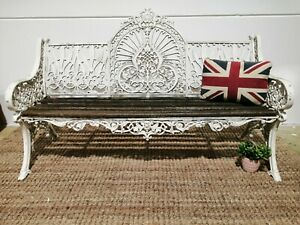 Antique Coalbrookdale peacock style ornate French style Garden Bench white