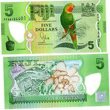 FIJI FIDJI Billet 5 Dollars ND ( 2013 ) P115 PERROQUET POLYMER NEUF UNC