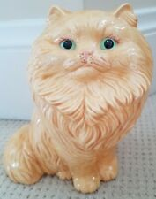Persian Cat Ceramic Vintage Statue Kitty Yellow Handpainted Green Eyes 8.5 In Ex