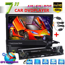 "7"" Car Flip Down 1Din Autoradio Mit DVD CD GPS Navigation BT AUX+Wireless Camera"