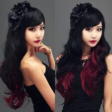 Mode Schwarz+Rot Gelockt Lang Haar volle Perücken Cosplay Kostüm Lolita Wig