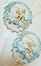 Vintage Porcelain Cherub Wall Plaques (set of 2)