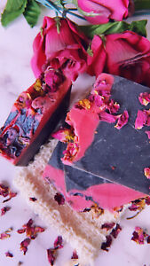 Charcoal and Rose Handmade Soap by ScrumptiousSoaps