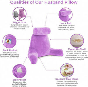 (- Original Version, Light Purple) - Husband Pillow Big Bedrest Reading &