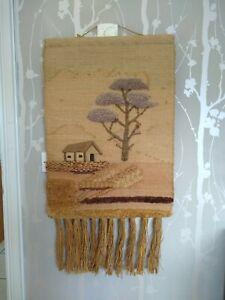Vintage Tapestry Wall Hanging Hand Woven Wool Jute Rattan Hippie Boho Minimalist