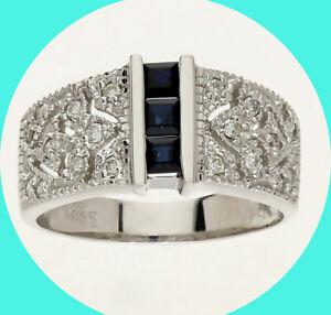 .55CT H diamond sapphire filigree ring 14K WG princess birthstone sz 8
