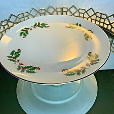 Cake stand Plate Christmas Holly & Berry Pedestal Vintage 10 1/4 Holiday #N1