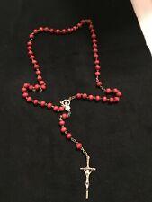Papa Benedetto XVI- Giovanni Paolo II Italian Red Wood Rosary Beads