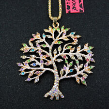Betsey Johnson Multi-Color Enamel Crystal Tree Twig Pendant Long Necklace