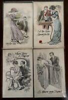 Lot of 4 Pretty Ladies & Men~Antique Victorian Romance~Greetings~Postcards--s972