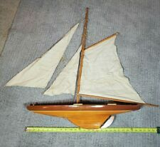 "Vintage Pond Boat Yacht Model Wooden Sailboat Restoration 25"" Hollow Wood Hull"