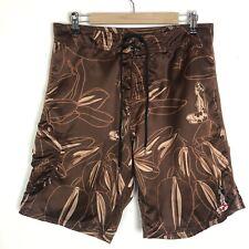 Hinano Tahiti Hawaiian Board Shorts Swim Trunks Hula Girl Size 34 Brown Tan