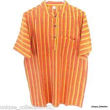 GD-01 Nepalese Summer Cool Hippy Boho Grandad Light Easy Cotton Stripe T-Shirt