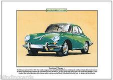 Porsche 356c Carrera 2-Fine Art Print-A4 tamaño 1963 alemán coche deportivo de imagen