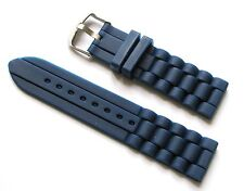 22mm Silicone Watch Band Strap - Navy Blue with Stainless Steel Buckle