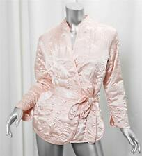 OSCAR DE LA RENTA Peach Satin Quilted Floral Belted Wrap Jacket Dress Coat XS