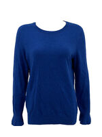 Talbots Women's Pullover Sweater Large Blue Lambswool Blend Bell Long Sleeves